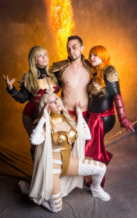 Marie Ventress as Phoenix, Alexanne Darkholme as Magik, Niteblade Cosplay as Namor, Betty Nukem as Emma Frost, Spider Inferno as Cyclops