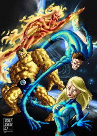 Reed Richards, Johnny Storm, Sue Storm, The Thing from Jose Baixauli