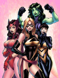 Scarlet Witch, She-Hulk, Ms. Marvel, Wasp from Unknown Artist