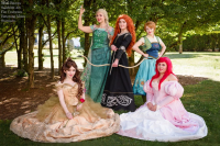 Mimi Reaves as Belle, Samantha E Marie as Elsa of Arendelle, Batarang Kisses as Anna of Arendelle, Nakita Star as Ariel, Fae Costumes as Princess Merida