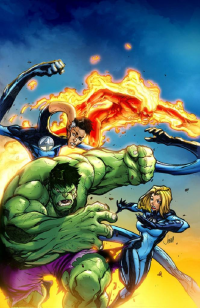 Reed Richards, Johnny Storm, Sue Storm, Hulk from Jeremy Roberts