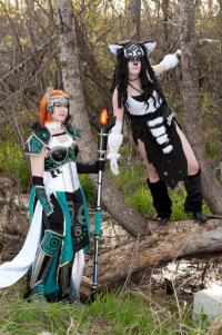 Keira Cosplay as Midna, unknown artist as Link