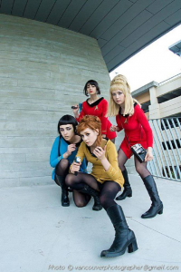Mimi Reaves as Janice Rand, Paingu as Spock, Emma Nicolay as James T. Kirk