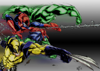 Spider-Man, Wolverine, Hulk from adencole