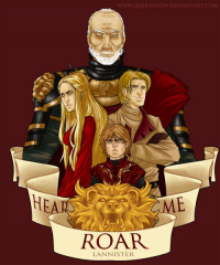 Tywin Lannister, Cersei Lannister, Jaime Lannister, Tyrion Lannister from Queen Snow