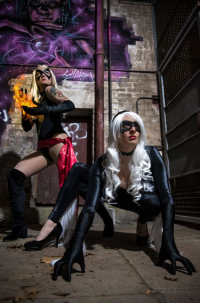 Casey Cooper Cosplay as Black Cat, Amicakescosplay as Ms. Marvel