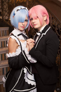 Jean WanWan as Rem, Rae Wolfe Cosplay as Ram