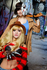 Bec's Cosplay Wonderland as Freddy Krueger, Purblind Cosplay as Jason Voorhees