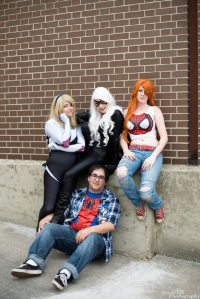 Toxik Fox Cosplay as Mary Jane Watson, Scarlett Quinn as Spider Gwen, Pretty Wreck Cosplay as Black Cat, Spider Dan Cosplay as Spider-Man