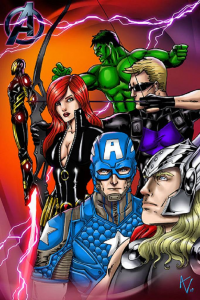 Thor, Iron Man, Captain America, Black Widow from Alice Vanessa