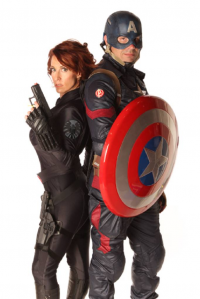 Shopoholic81 as Black Widow, unknown artist as Captain America