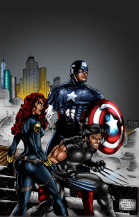Black Widow, Captain America, Wolverine from Marc Bourcier