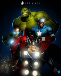 Thor, Iron Man, Captain America, Hulk from John Aslarona