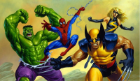 Hulk, Spider-Man, Wolverine, Ms. Marvel from Joe Jusko