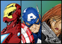 Iron Man, Captain America, Black Widow from Jedi Colourist