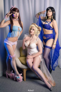 Stella Chuu as D.Va, Reagan Kathryn as Mercy, Meevers Desu Cosplay as Pharah