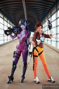 Jannet Rudakova as Tracer, unknown artist as Widowmaker