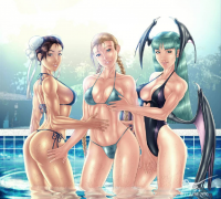 Chun Li, Cammy White, Morrigan Aensland from Unknown Artist