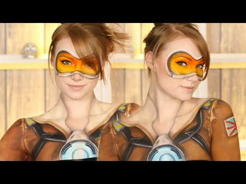 Overwatch: Tracer Makeup Tutorial (Clothes Painted On!)
